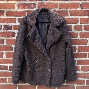Jackets & Blazers - Teddy Bear Coat Double Breasted Jacket Brown